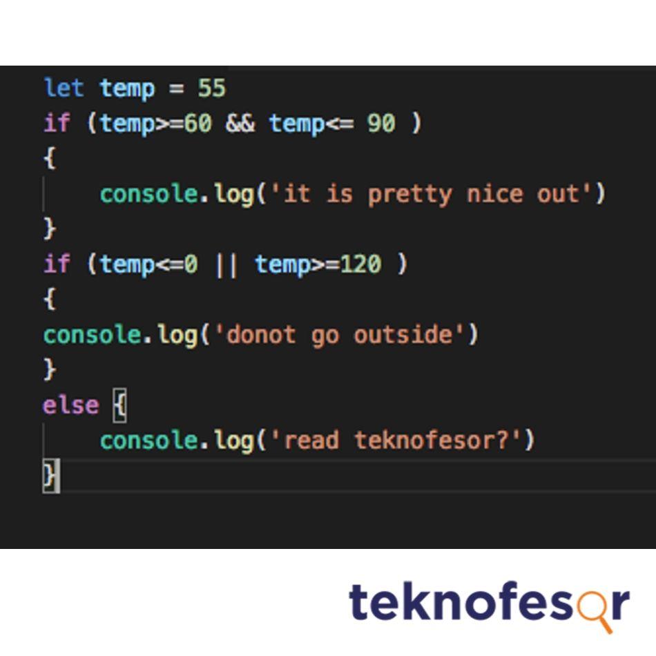 node js isimli programlama dilinden bir kod blogu görünümü
